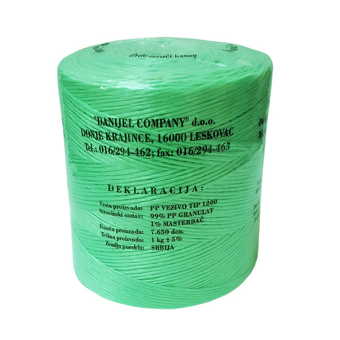 Green Polypropylene Baling Twine T-1200 1kg Spool