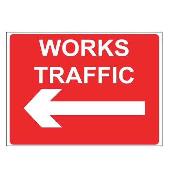 WORKS TRAFFIC LEFT  Warning Sign