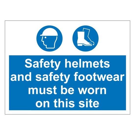 HELMETS FOOTWEAR Warning Sign