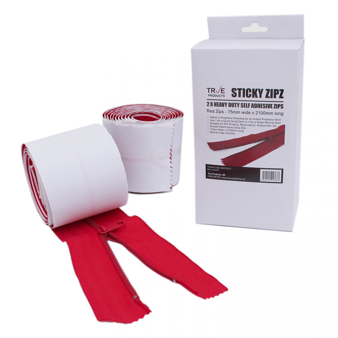 2 Heavy Duty Self Adhesive Zips - 2100mm Long