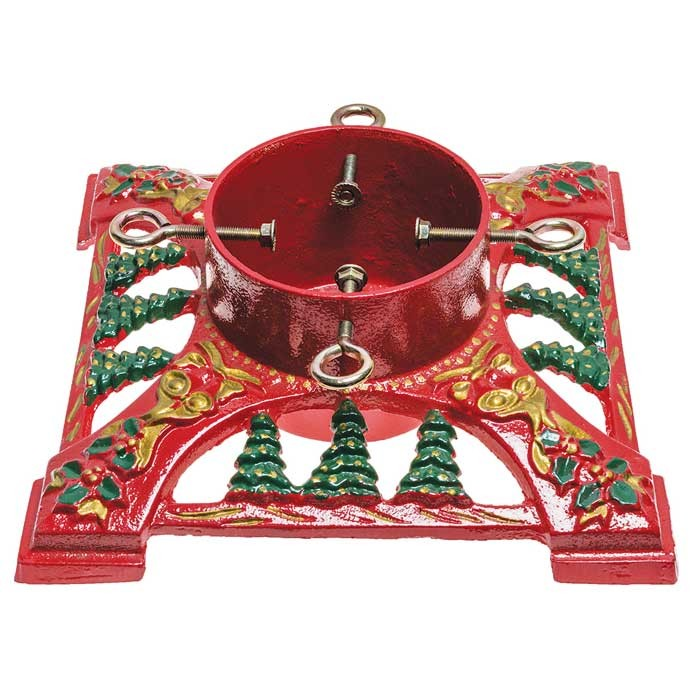 "Cast Iron 14"" Red Bows & Bells Christmas Tree Stand"