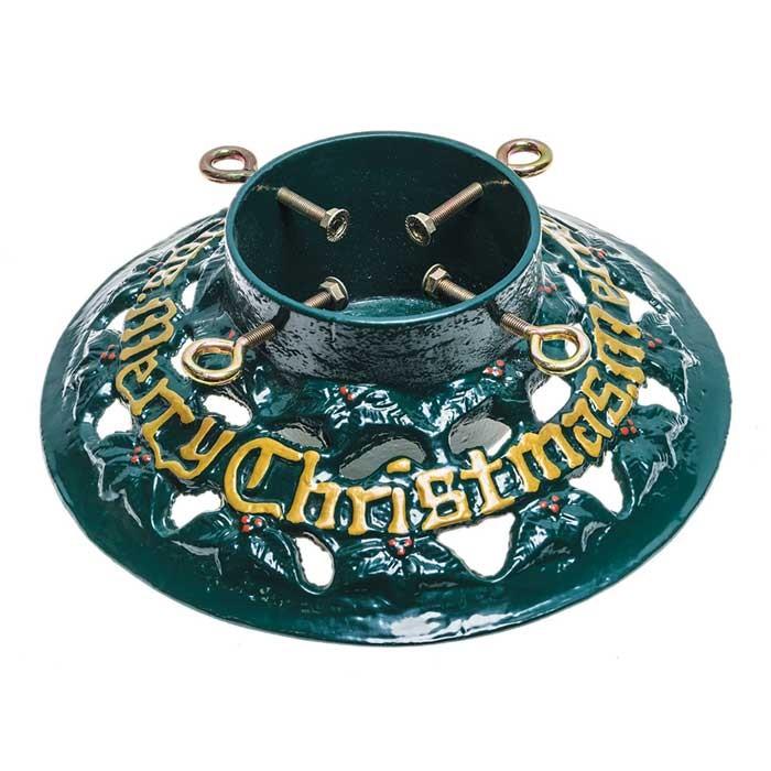 "Cast Iron 14"" Merry Christmas Round Christmas Tree Stand"