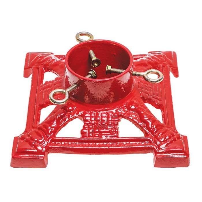 "Cast Iron 11"" Red Santa Lattice Square Christmas Tree Stand"