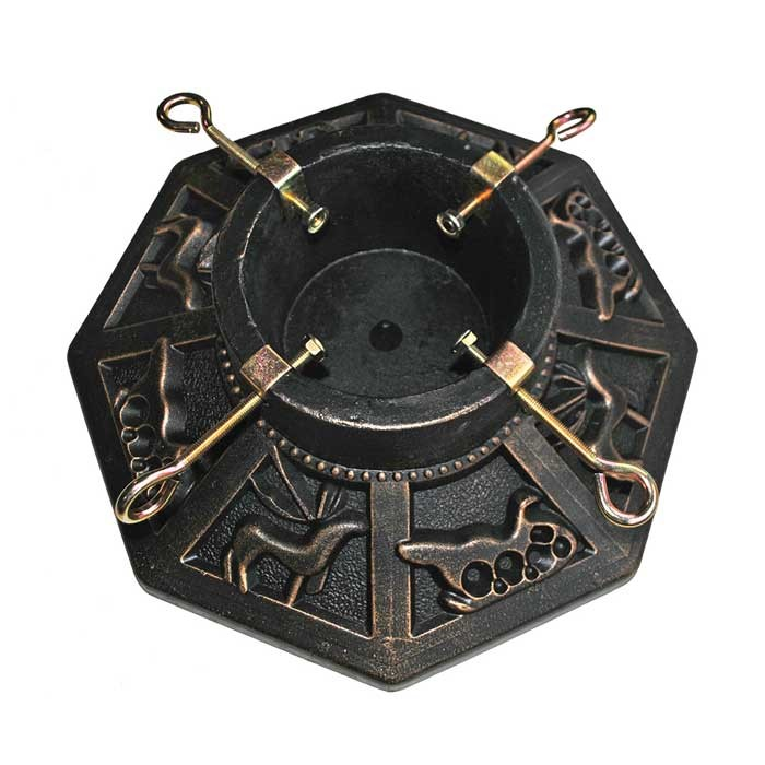 "Stone Effect Octagonal Christmas Tree Stand 15"" - Antique Gold"