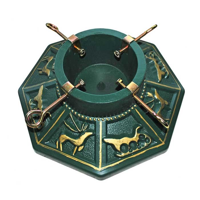"Stone Effect Octagonal Christmas Tree Stand 15"" - Antique Green & Gold"