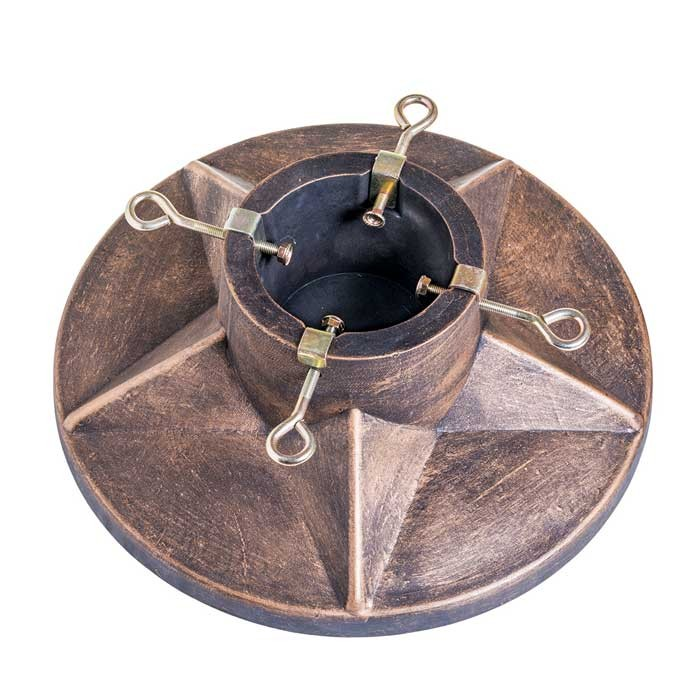 """Stone Effect Round Christmas Tree Stand 15"""" - Antique Gold 5 Star"""