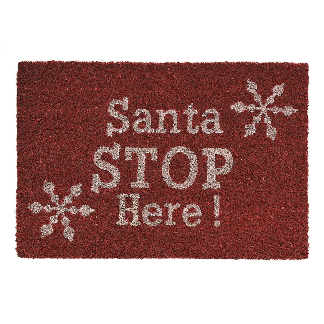 Festive Red SANTA STOP HERE Christmas Doormat
