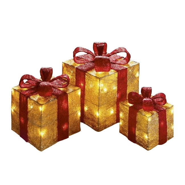 Set of 3 Premier Lit Glitter Christmas Parcels - Gold with Red Bows