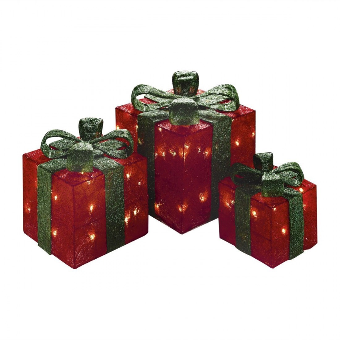 Set of 3 Premier Lit Glitter Christmas Parcels - Red with Green Bows