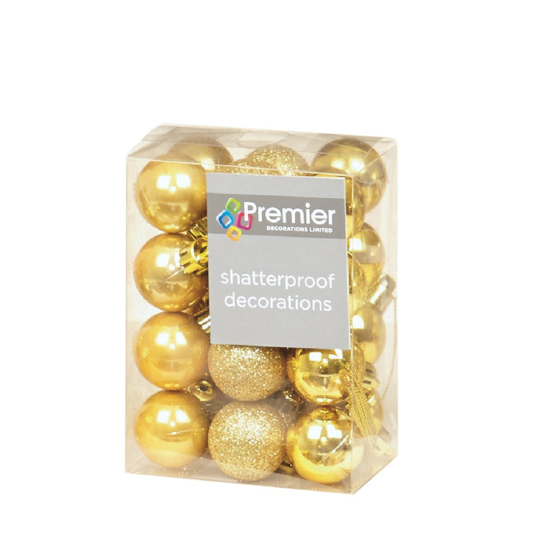 24 Gold Christmas Tree Baubles Shatterproof