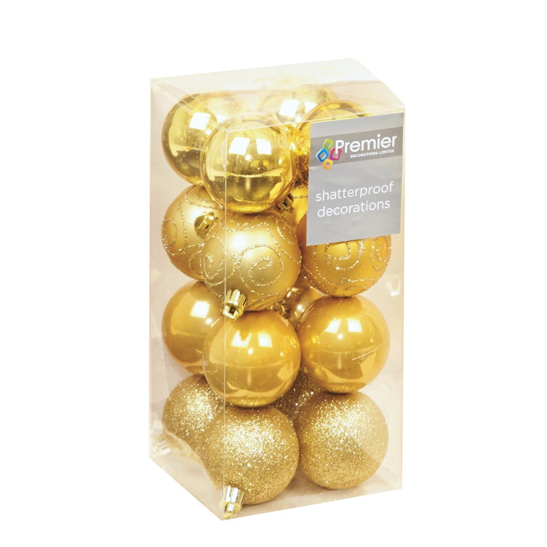 16 Gold Christmas Tree Baubles Shatterproof