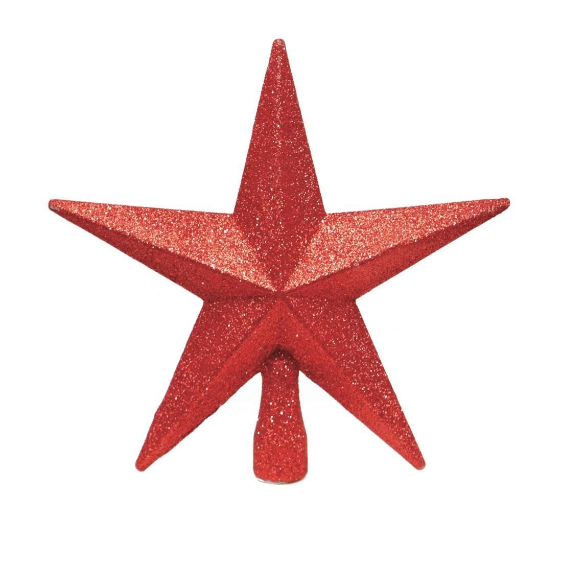 Red Christmas Tree Topper Glitter Star