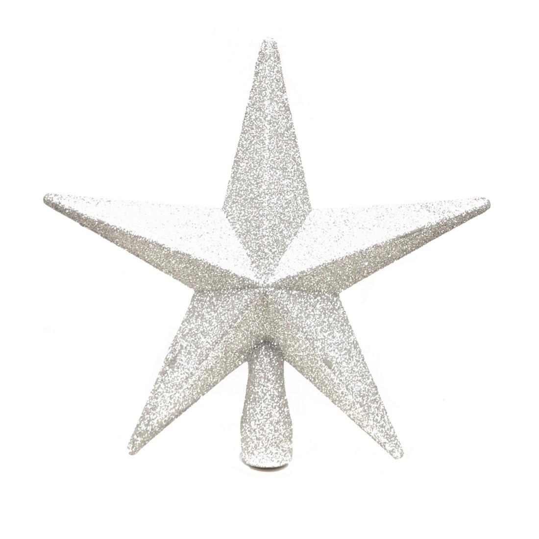 Silver Christmas Tree Topper Glitter Star