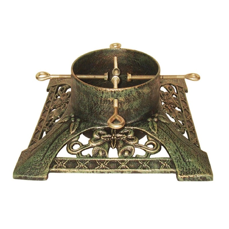 """16"""" Cast Iron Victorian Brushed Gold Christmas Tree Stand"""