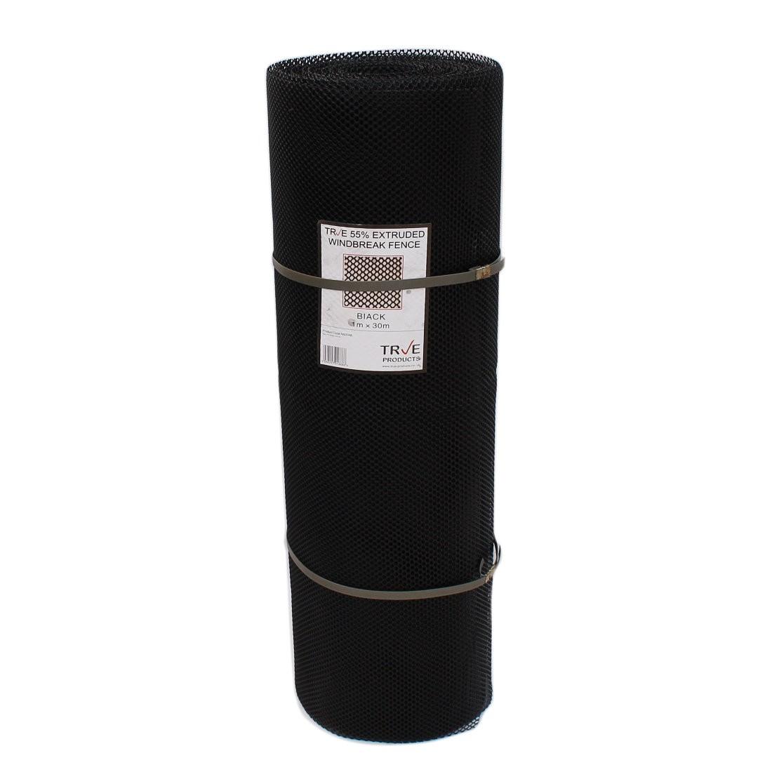 55% Windbreak Extruded Medium Mesh - 30m Roll - 1m High - Black