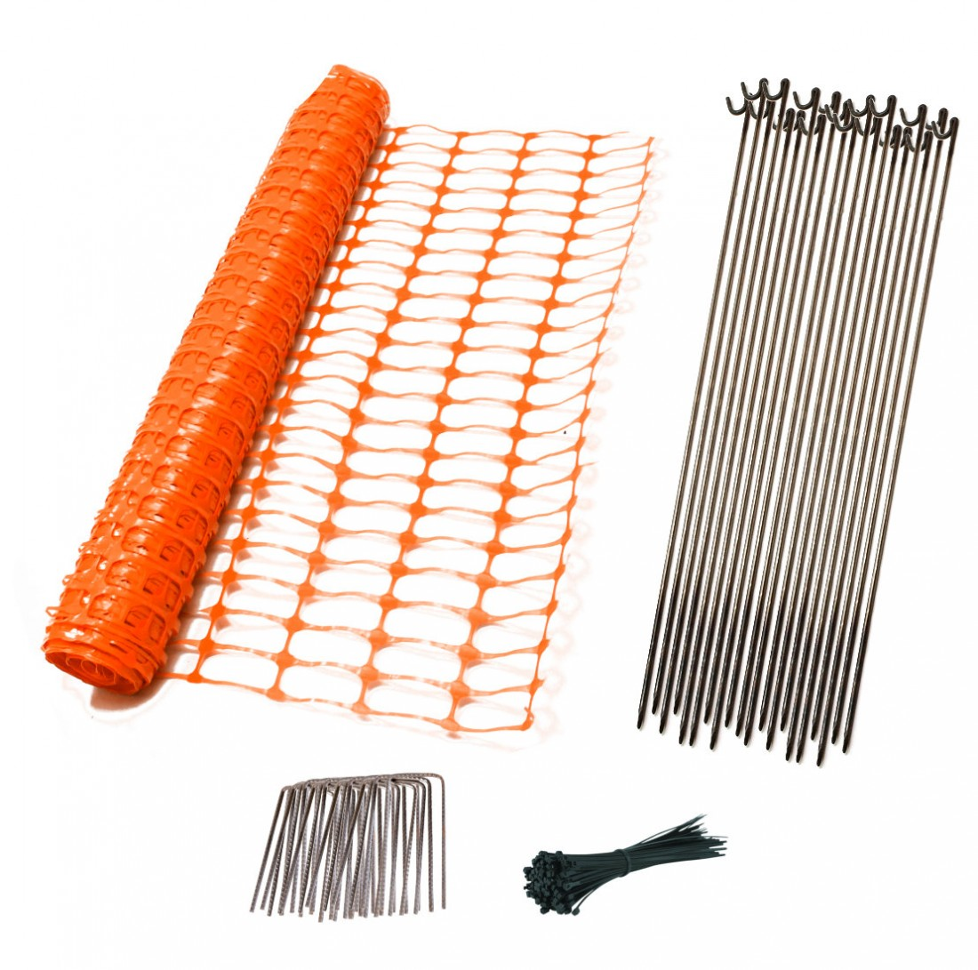 Orange Temporary Fence Kit - Up to 50m - Steel Pins