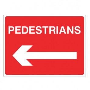 PEDESTRIANS LEFT Warning Sign