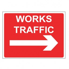 WORKS TRAFFIC RIGHT Warning Sign