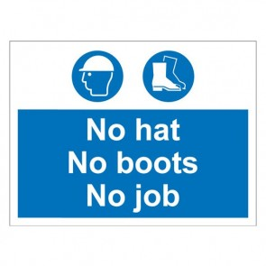 HATS BOOTS JOB Warning Sign