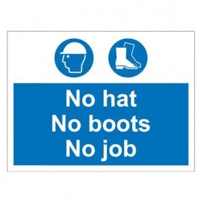 HATS BOOTS JOB Warning Sign