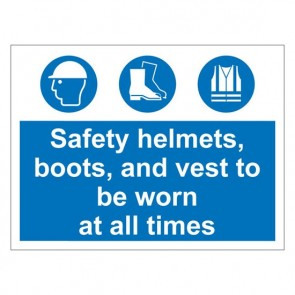 HELMETS BOOTS VESTS Warning Sign
