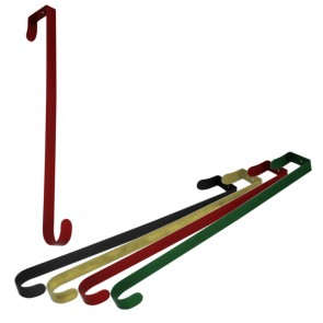 Metal Wreath Hanger saves your door from damage from pins or tape. Just hangs over the top of the door to hold your wreath in position