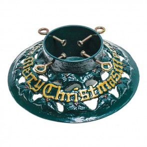 "Cast Iron 14"" Merry Christmas Round Christmas Tree Stand"