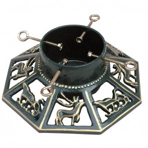 """Cast Iron 14"""" Green & Gold Octagonal Christmas Tree Stand"""