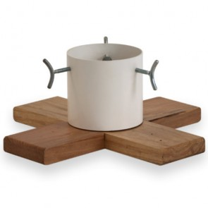 Hip Wood & Metal Contemporary Christmas Tree Stand - White