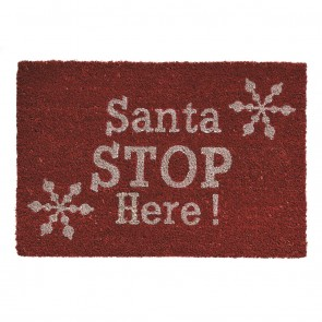 Festive Red SANTA STOP HERE Christmas Doormat