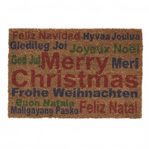 Festive Brown MERRY CHRISTMAS Doormat