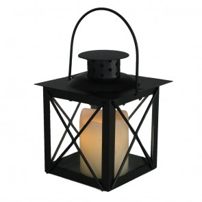 Dancing Flame Black Lantern 14cm - Warm White