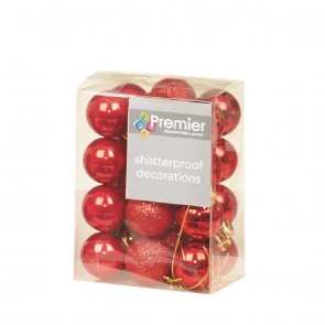 24 Red Christmas Tree Baubles Shatterproof