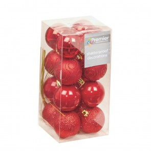 16 Red Christmas Tree Baubles Shatterproof