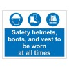 HELMETS BOOTS VESTS 600 x 450mm Sign